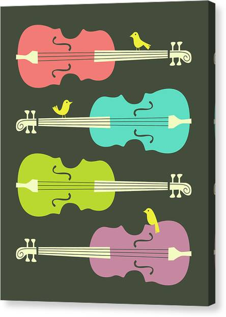 Cellos Canvas Print - Birds On Cello Strings 3 by Jazzberry Blue