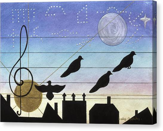 Birds On Wires Canvas Print by Sally Appleby