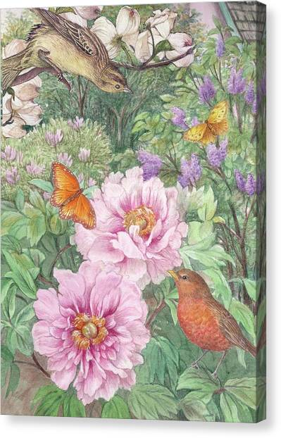 Canvas Print featuring the painting Birds Peony Garden Illustration by Judith Cheng