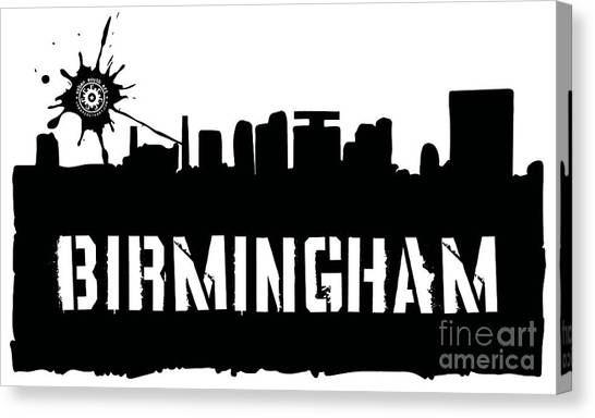 University Of Alabama At Birmingham Canvas Print - Birmingham Silhouette by Lori Earle
