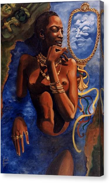 Birth Of Oshun Canvas Print by Karmella Haynes