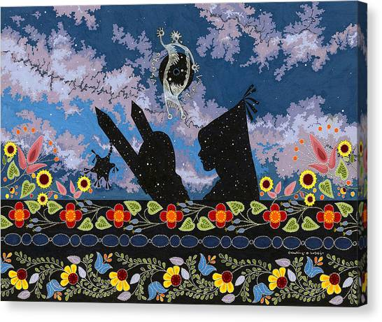 Canvas Print featuring the painting Birth Of The Universe by Chholing Taha