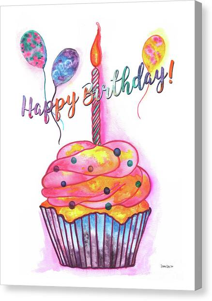 Cakes Canvas Print - Birthday Cupcake by Debbie DeWitt