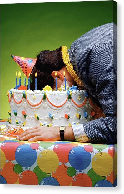 Happy Birthday Canvas Print - Birthday Depression - Man's Face Buried In A Birthday Cake by Stan Fellerman