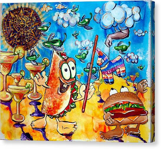 Birthday Party With Mister Taco And Piata Canvas Print by Charles Harrison Pompa