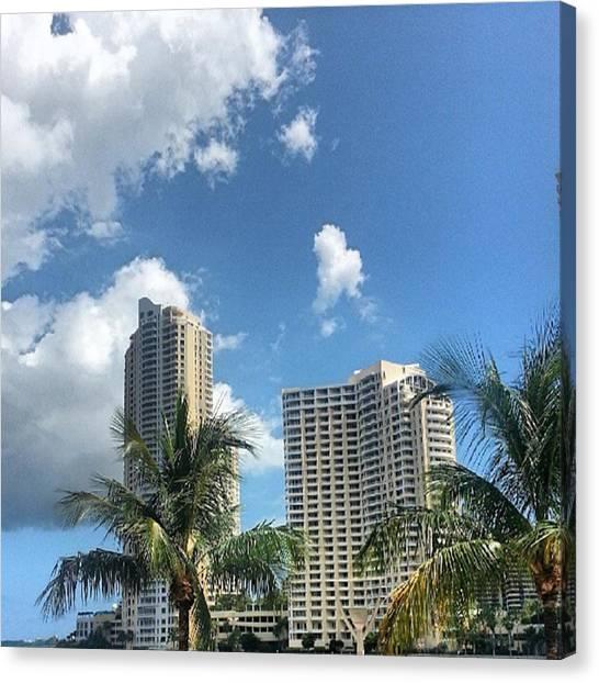 Miami Skyline Canvas Print - Biscayne Bay... Downtown Miami by Elton  Hazel
