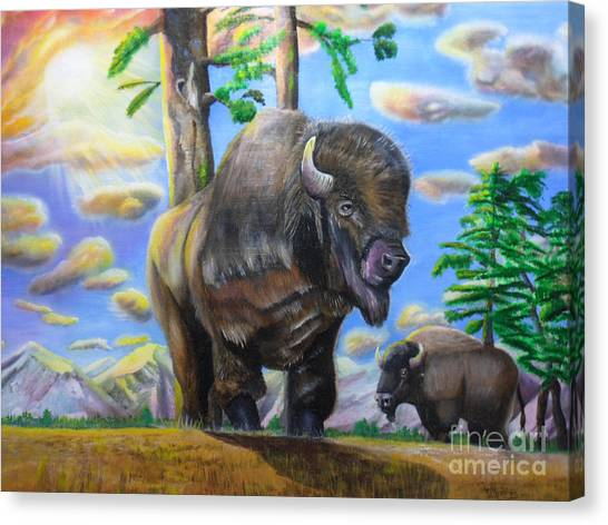 Bison Acrylic Painting Canvas Print