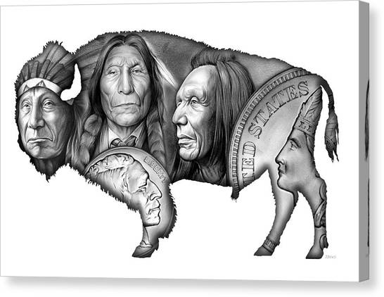 Coins Canvas Print - Bison Indian Montage 2 by Greg Joens