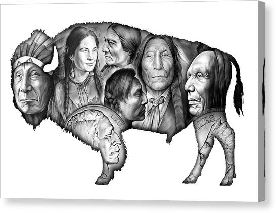 Money Canvas Print - Bison Indian Montage by Greg Joens