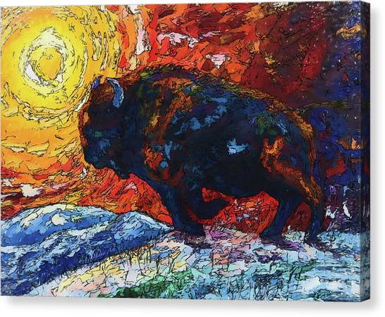 Bison Running Print Of Olena Art Wild The Storm Oil Painting With Palette Knife  Canvas Print
