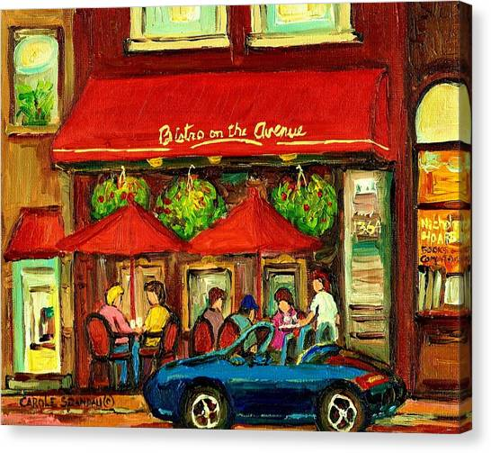 China Town Canvas Print - Bistro On Greene Avenue In Montreal by Carole Spandau