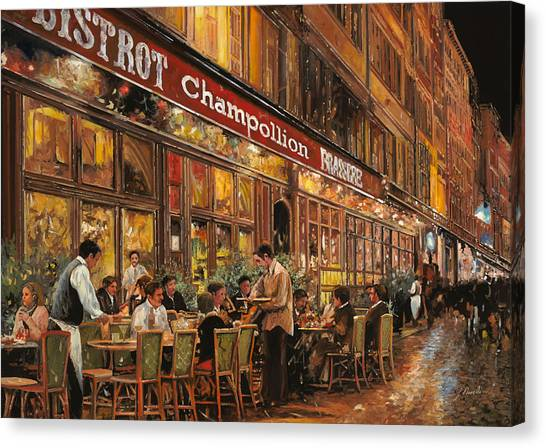 Street Scenes Canvas Print - Bistrot Champollion by Guido Borelli