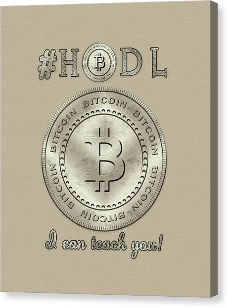 Canvas Print featuring the digital art Bitcoin Symbol Logo Hodl Quote Typography by Georgeta Blanaru