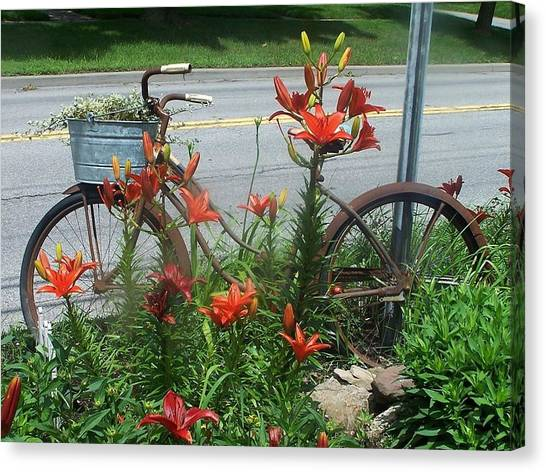 Biycle Flowers Canvas Print