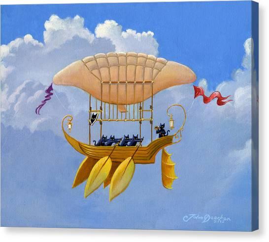 Blimps Canvas Print - Bizarre Feline-powered Airship by John Deecken
