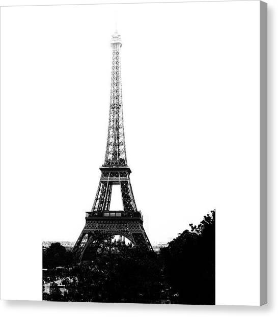 Paris Canvas Print - Black & White Eiffel.  #bw #paris by Georgia Fowler