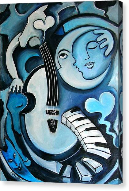 Cellos Canvas Print - Black And Bleu by Valerie Vescovi