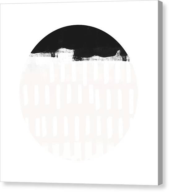 Circles Canvas Print - Black And Blush Abstract Circle 4- Art By Linda Woods by Linda Woods