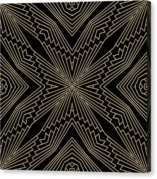 Black And Gold Art Deco Filigree 003 Canvas Print