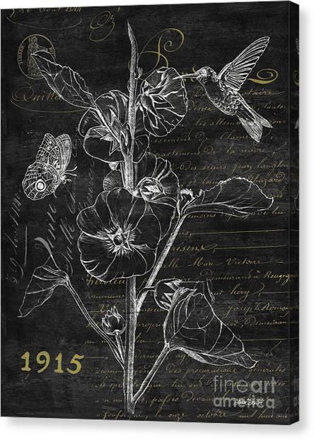 Hummingbirds Canvas Print - Black And Gold Hummingbirds 1 by Debbie DeWitt