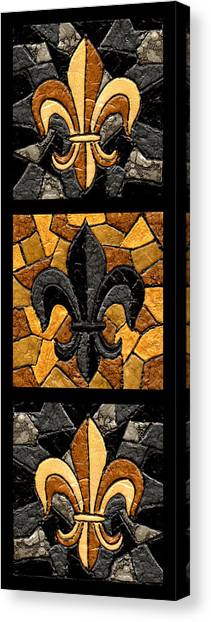 New Orleans Saints Canvas Print - Black And Gold Triple Fleur De Lis by Elaine Hodges