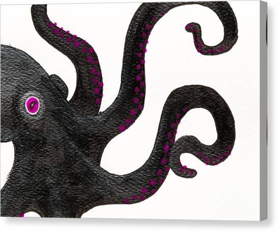 Black And Purple Octopus Canvas Print