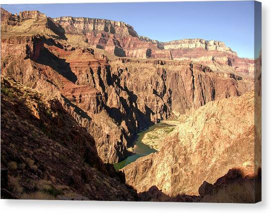 Black And Silver Bridges Spanning The Colorado River  Grand Canyon National Park Canvas Print