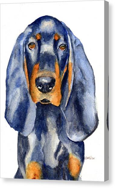 Independent Canvas Print - Black And Tan Coonhound Dog by Carlin Blahnik CarlinArtWatercolor