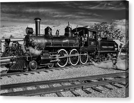Steam Trains Canvas Print - Black And White 25 by Garry Gay