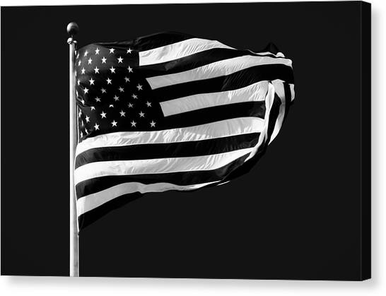 American Flag Canvas Print - Black And White American Flag by Steven Michael