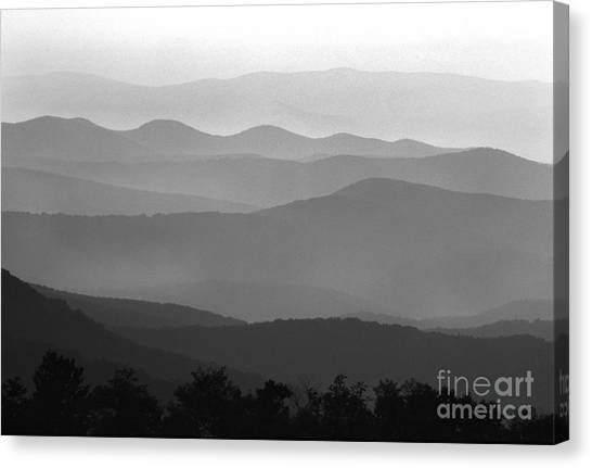 Black And White Blue Ridge Mountains Canvas Print