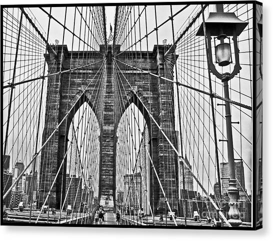 Black And White Brooklyn Bridge Canvas Print by Allan Einhorn