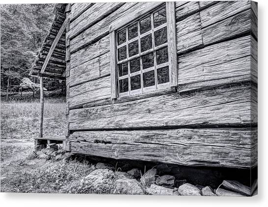 Black And White Cabin In The Forest Canvas Print