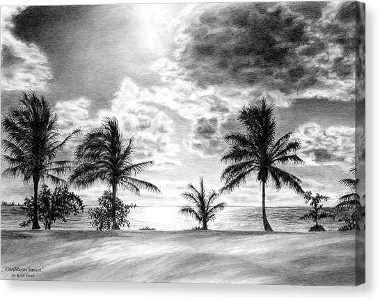 Black And White Caribbean Sunset Canvas Print