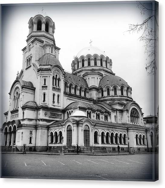 Sightseeing Canvas Print - Black And White Cathedral by Suggestive Moods