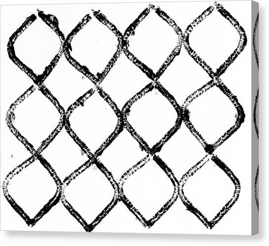 Black And White Chain Link Fence Canvas Print by Gillham Studios