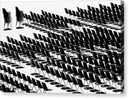 Canvas Print featuring the photograph Black And White Chairs by Mirko Chessari