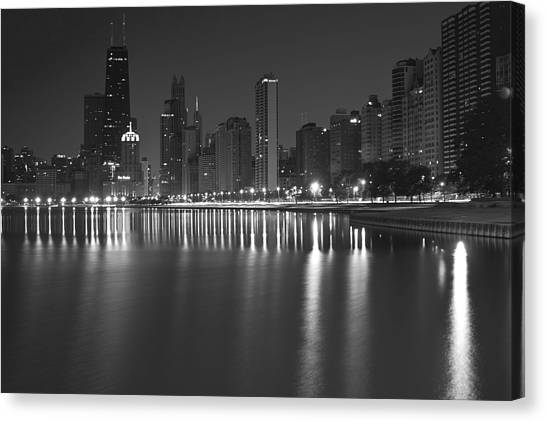 Black And White Chicago Skyline At Night Canvas Print