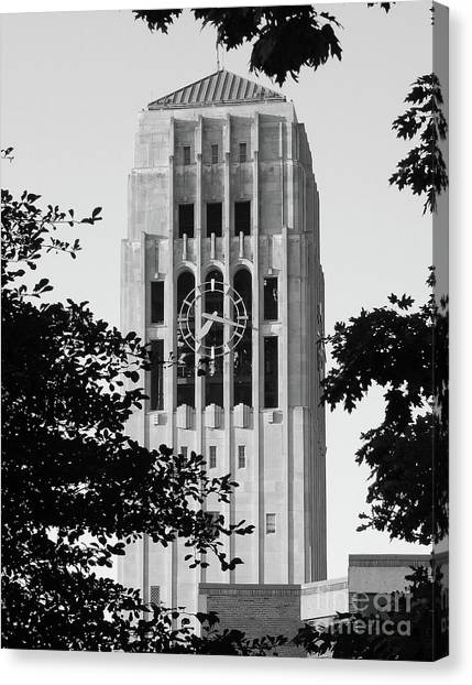 Black And White Clock Tower Canvas Print