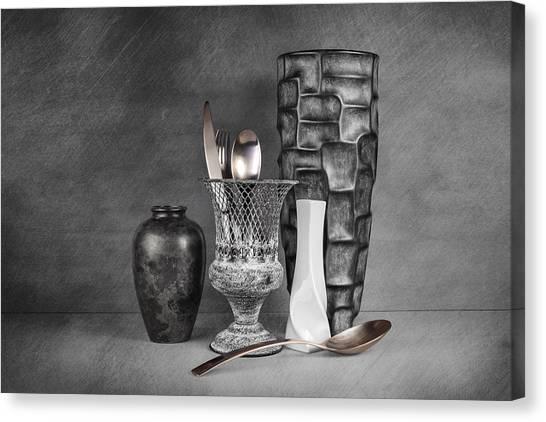 Pottery Canvas Print - Black And White Composition by Tom Mc Nemar