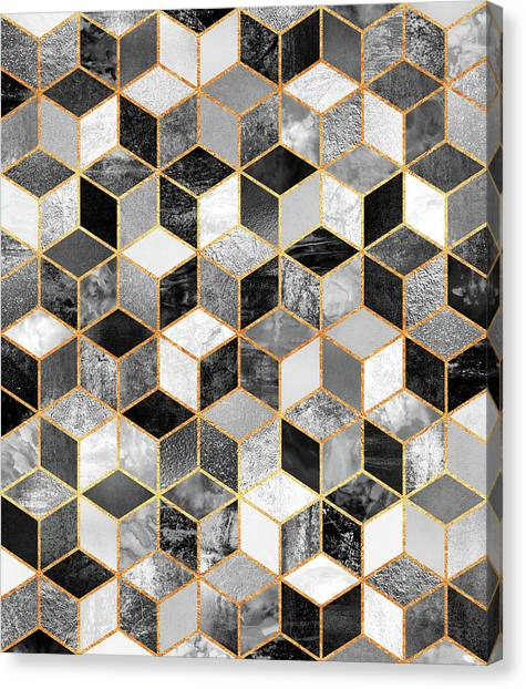 Geometry Canvas Print - Black And White Cubes by Elisabeth Fredriksson