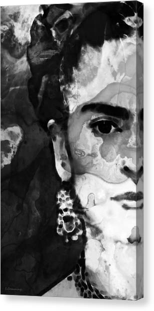 Famous Artists Canvas Print - Black And White Frida Kahlo By Sharon Cummings by Sharon Cummings