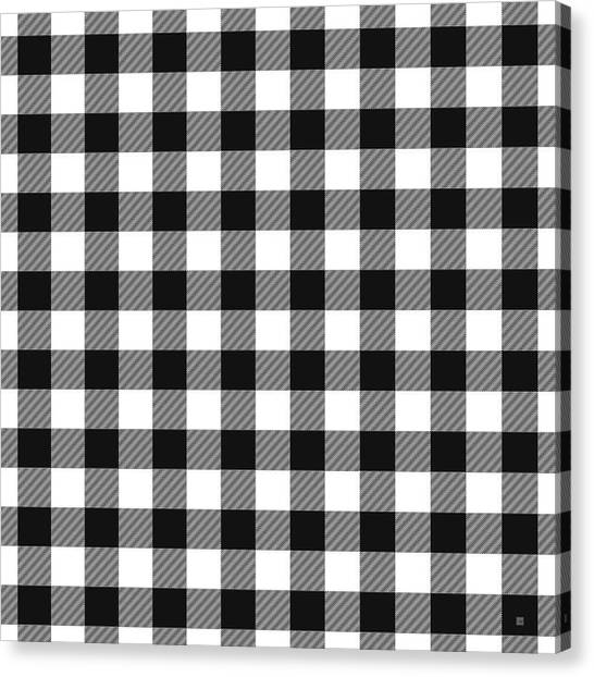 Black And White Canvas Print - Black And White Gingham Small- Art By Linda Woods by Linda Woods
