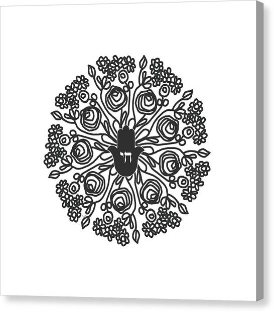 Mandala Canvas Print - Black And White Hamsa Mandala- Art By Linda Woods by Linda Woods