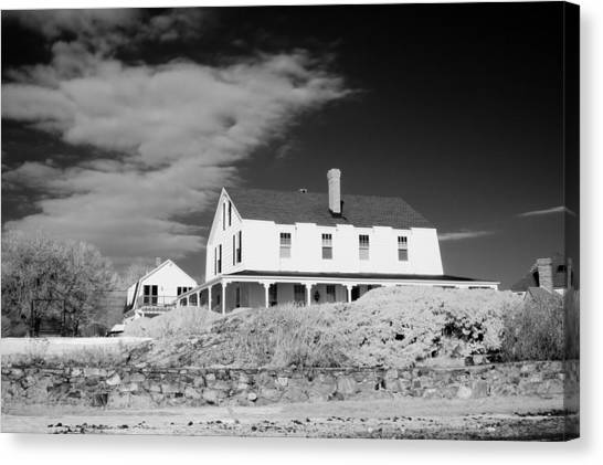 Black And White Image Of A House In New England In Infrared Canvas Print by David Thompson