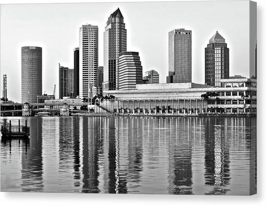 Chicago Skyline Art Canvas Print - Black And White In The Heart Of Tampa Bay by Frozen in Time Fine Art Photography