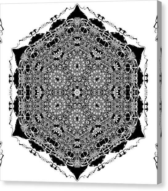 Canvas Print featuring the digital art Black And White Mandala 15 by Robert Thalmeier