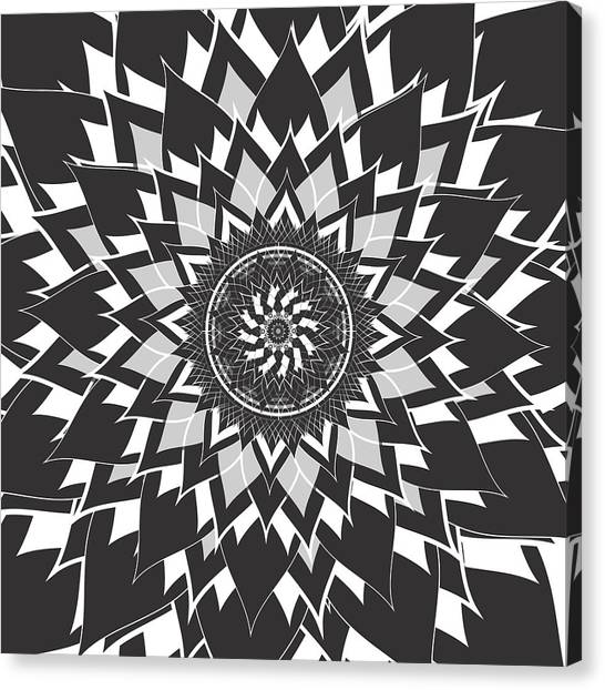 71b456370a8 Bohemian Flowers Canvas Print - Black And White Mandala by Latex Color  Design