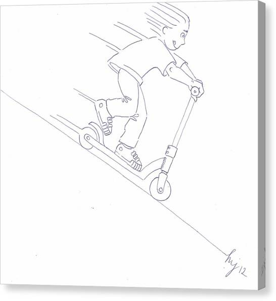 Black And White Micro Scooter Downhill Drawing Canvas Print