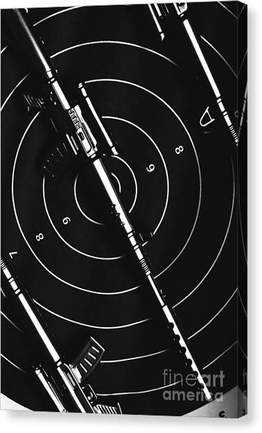 Rifles Canvas Print - Black And White Military Marksman  by Jorgo Photography - Wall Art Gallery